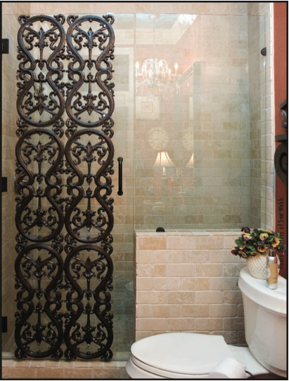Heavy-Glass Shower with decorative, light-weight panel attached